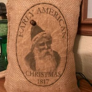 Primitive tea stained Christmas pillow